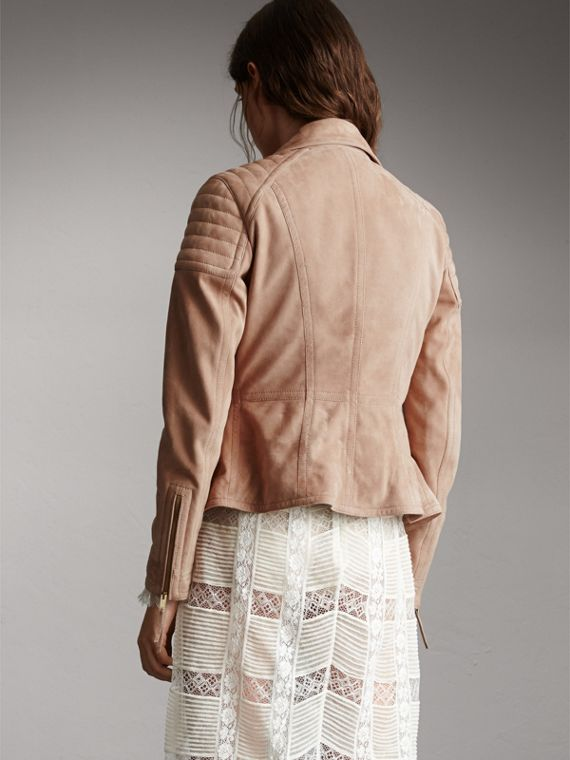 Ribbed Panel Suede Biker Jacket in Pale Antique Rose - Women | Burberry - cell image 2