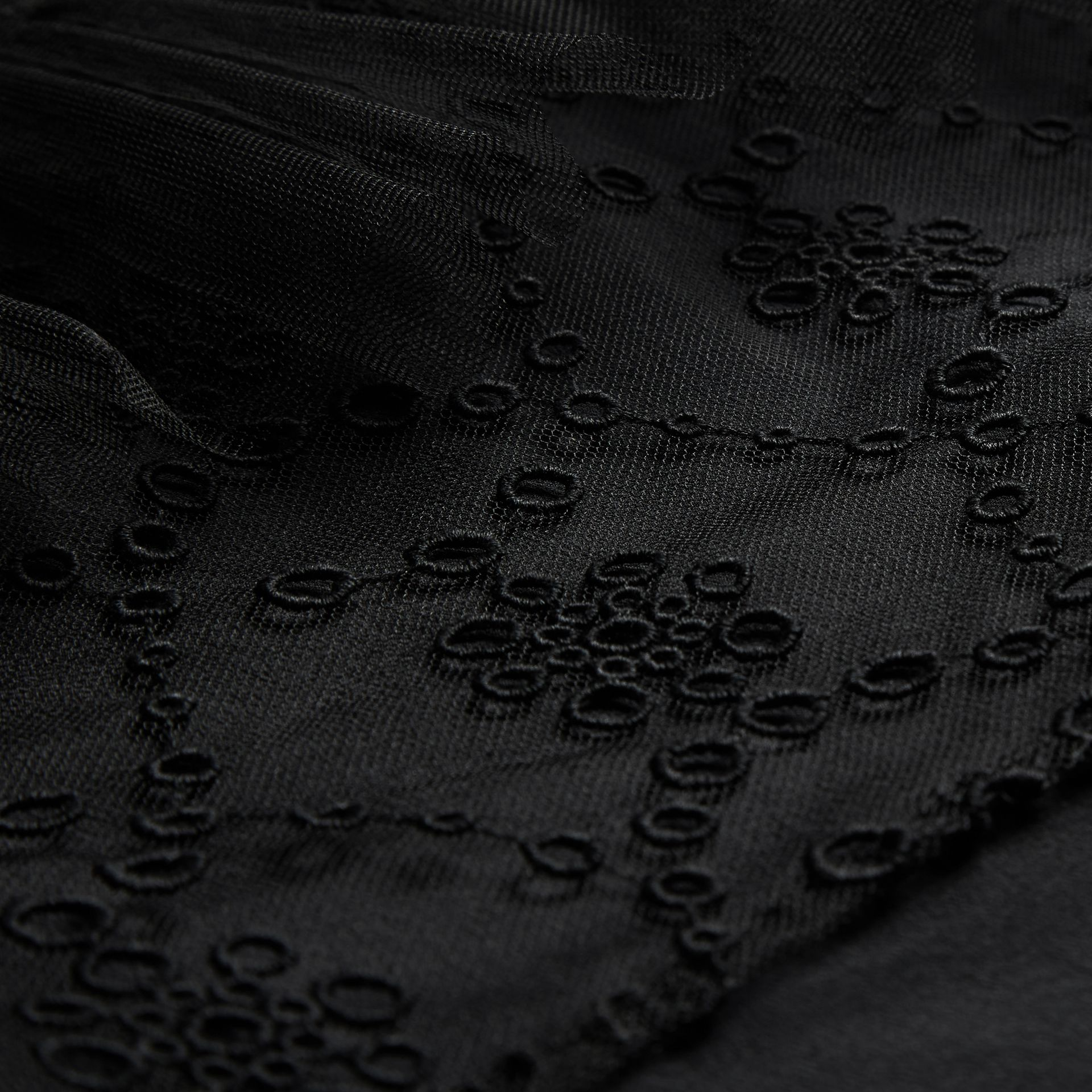 Black Embroidered Tulle Tiered Dress - gallery image 2
