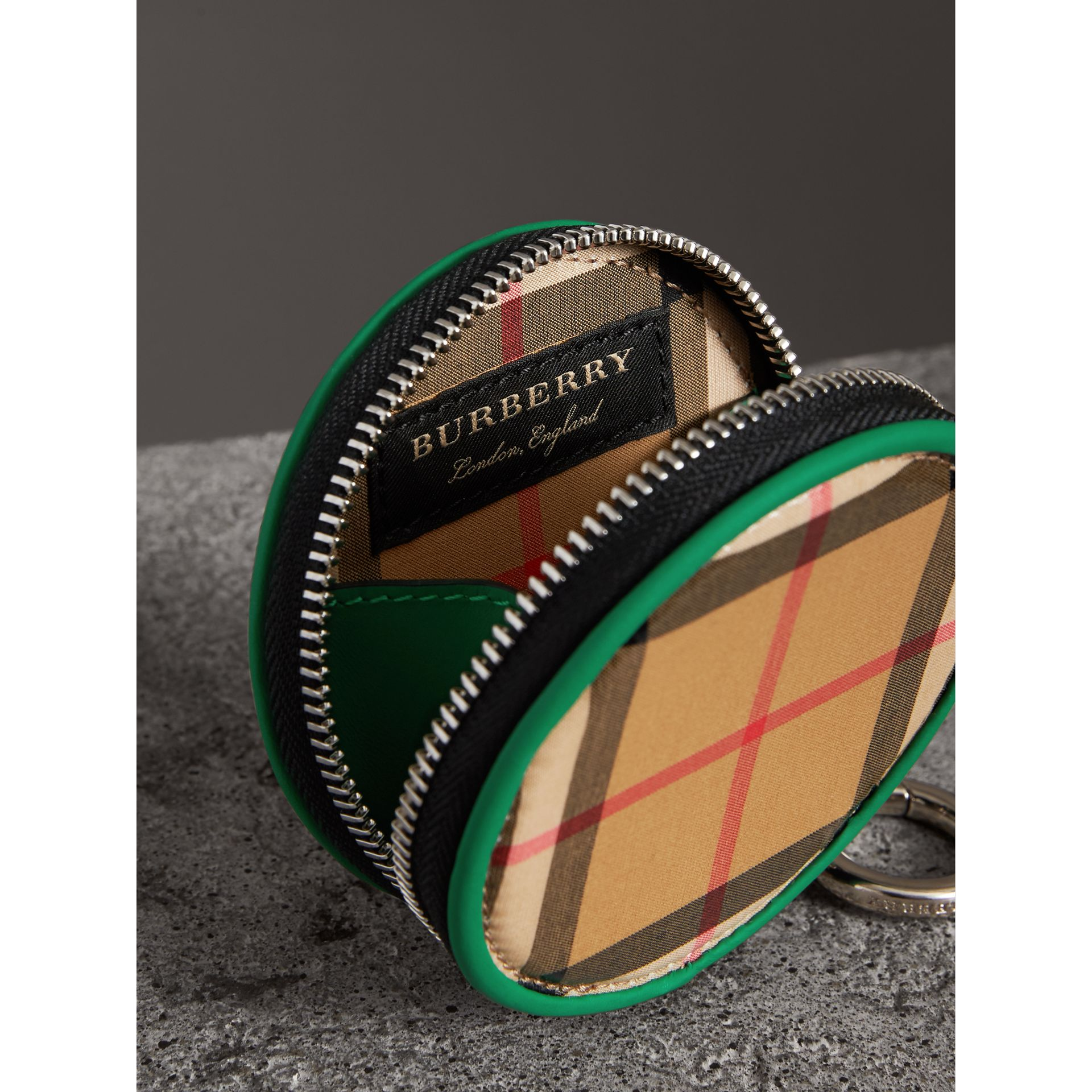 Coated Vintage Check Coin Case in Palm Green | Burberry Australia - gallery image 3