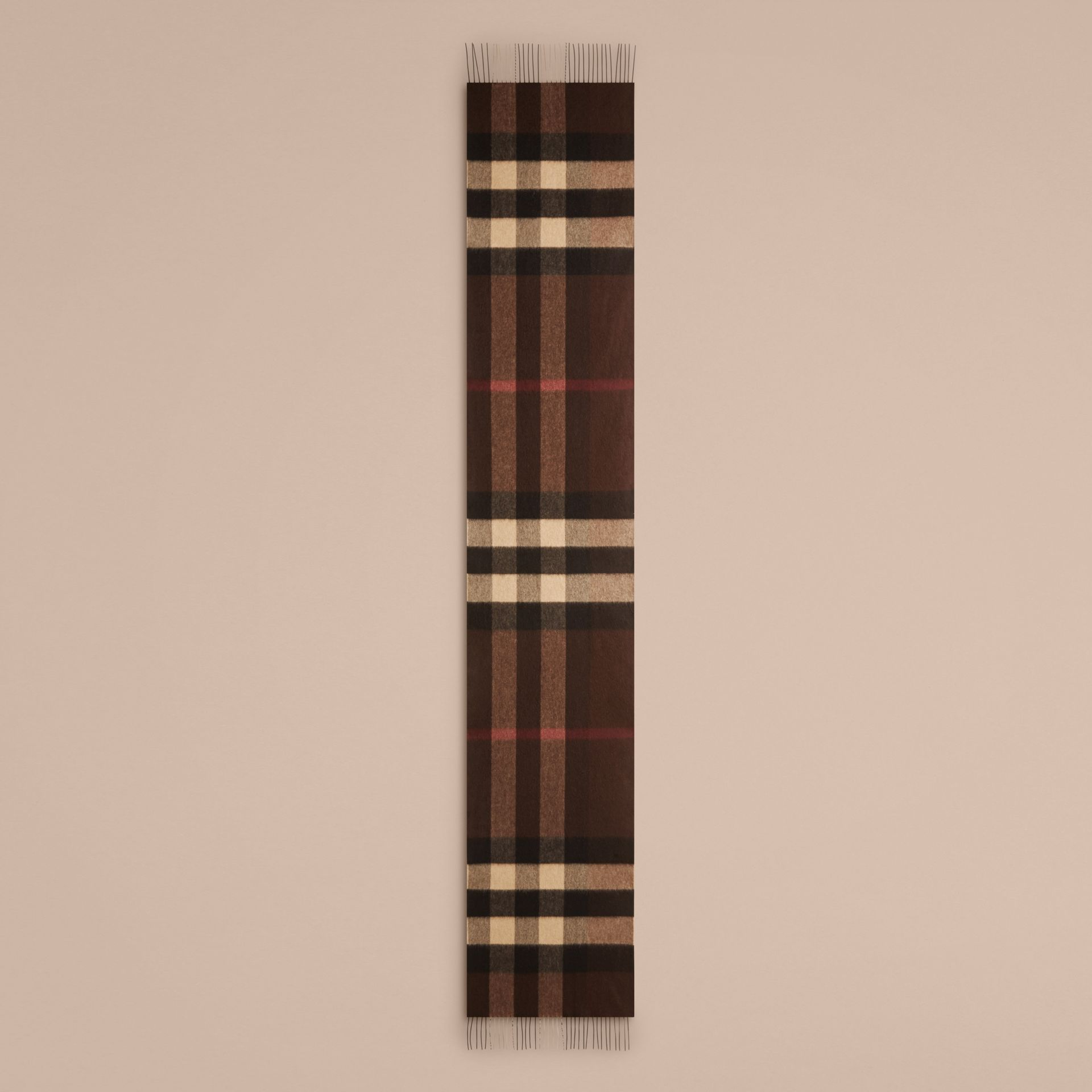 Dark chestnut brown check Giant Exploded Check Cashmere Scarf - gallery image 5