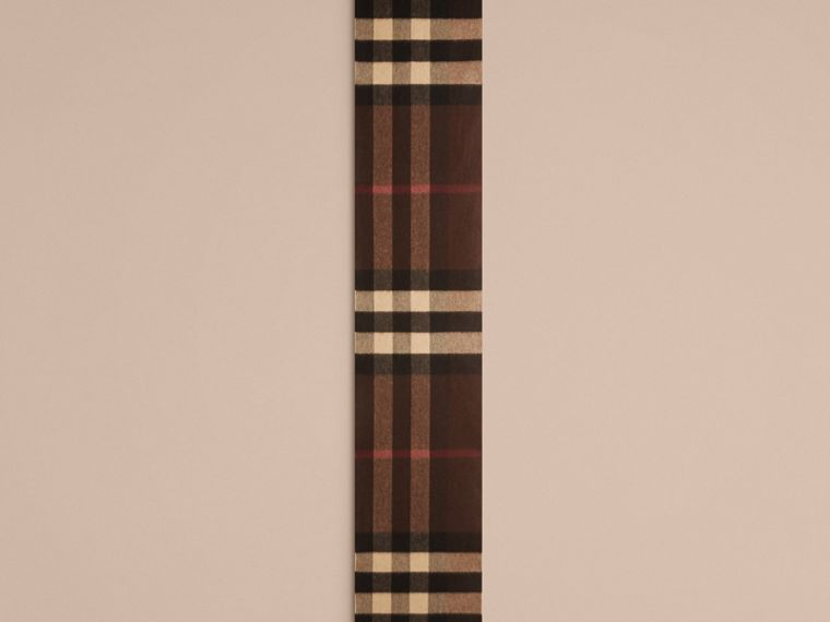 Dark chestnut brown check Giant Exploded Check Cashmere Scarf - cell image 4