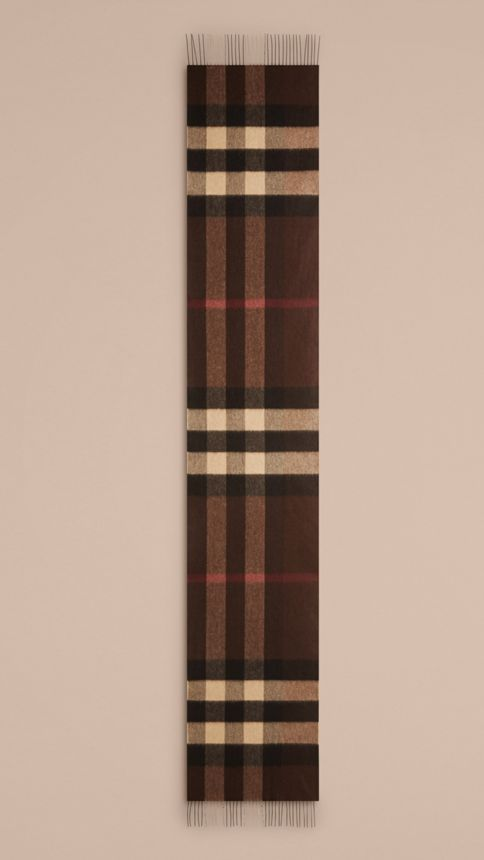 Dark chestnut brown check Giant Exploded Check Cashmere Scarf Dark Chestnut Brown - Image 5