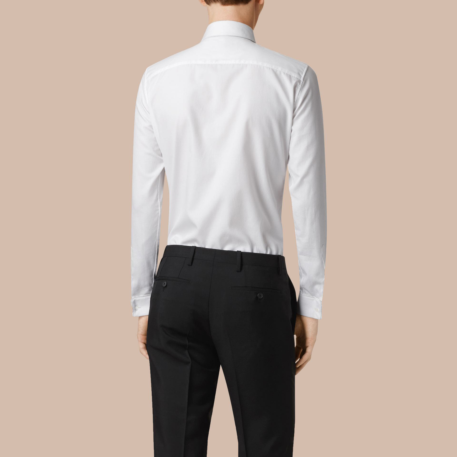 White Slim Fit Double-cuff Cotton Dress Shirt - gallery image 3