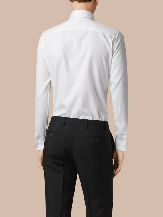 White Slim Fit Double-cuff Cotton Dress Shirt - cell image 2