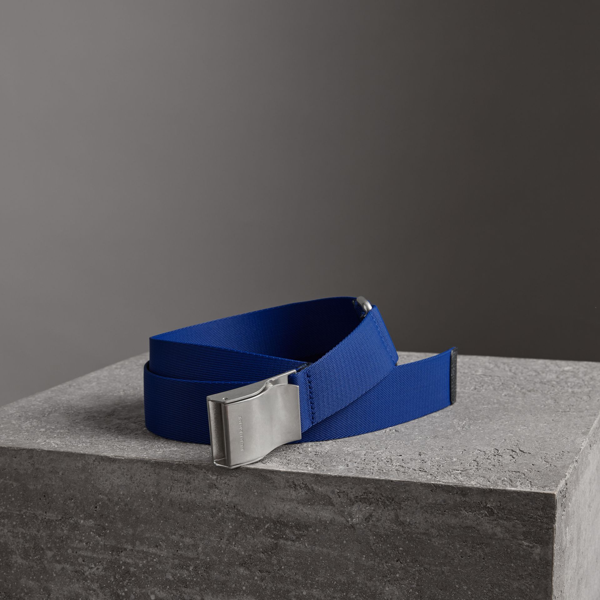 Plaque Buckle Nylon Belt in Dark Canvas Blue - Men | Burberry - gallery image 0
