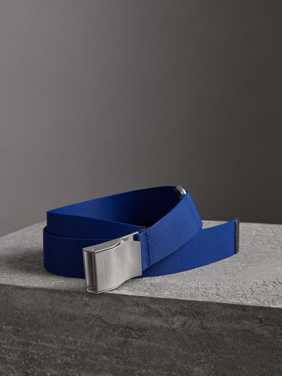 Plaque Buckle Nylon Belt in Dark Canvas Blue