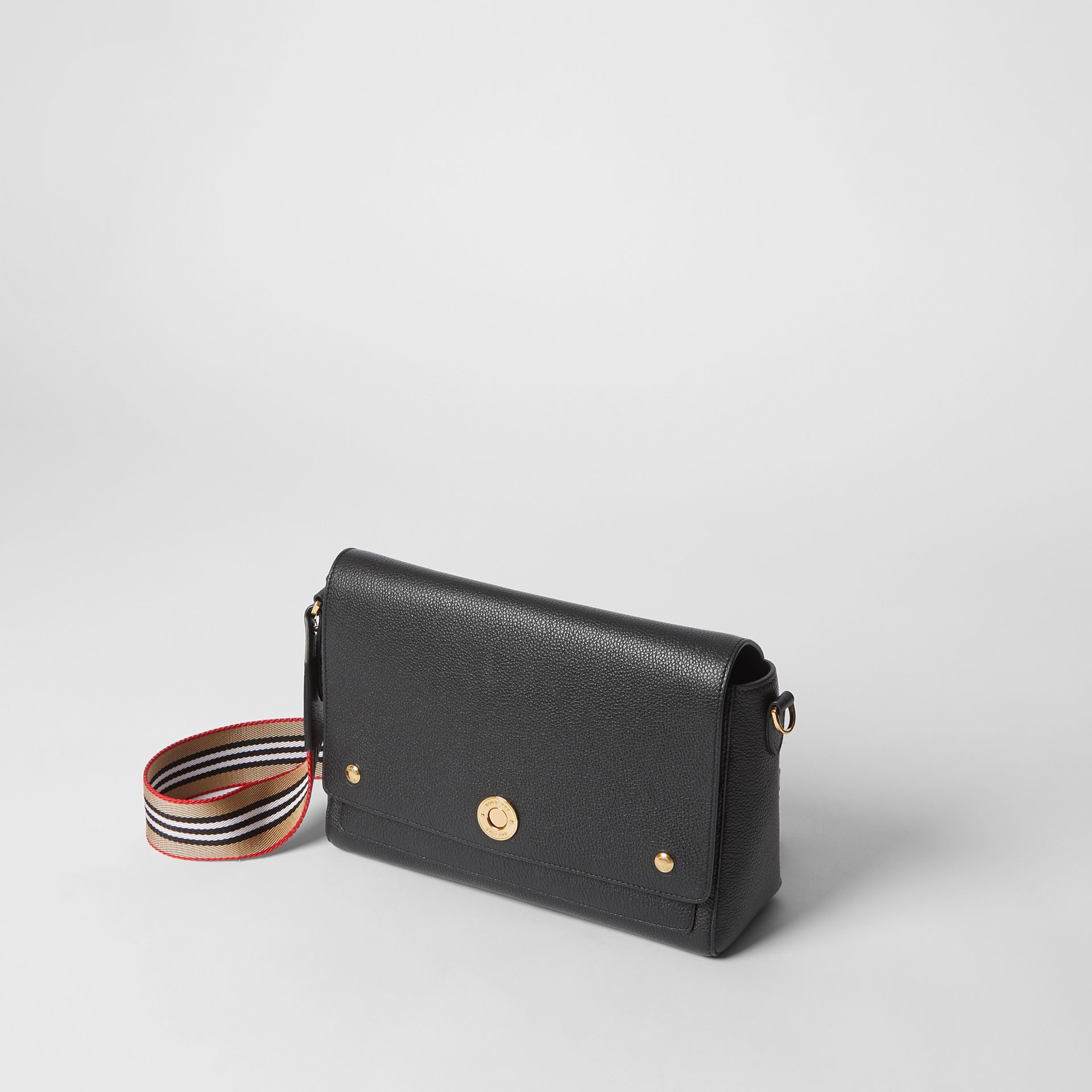 Grainy Leather Note Crossbody Bag in Black - Women | Burberry United Kingdom - gallery image 3