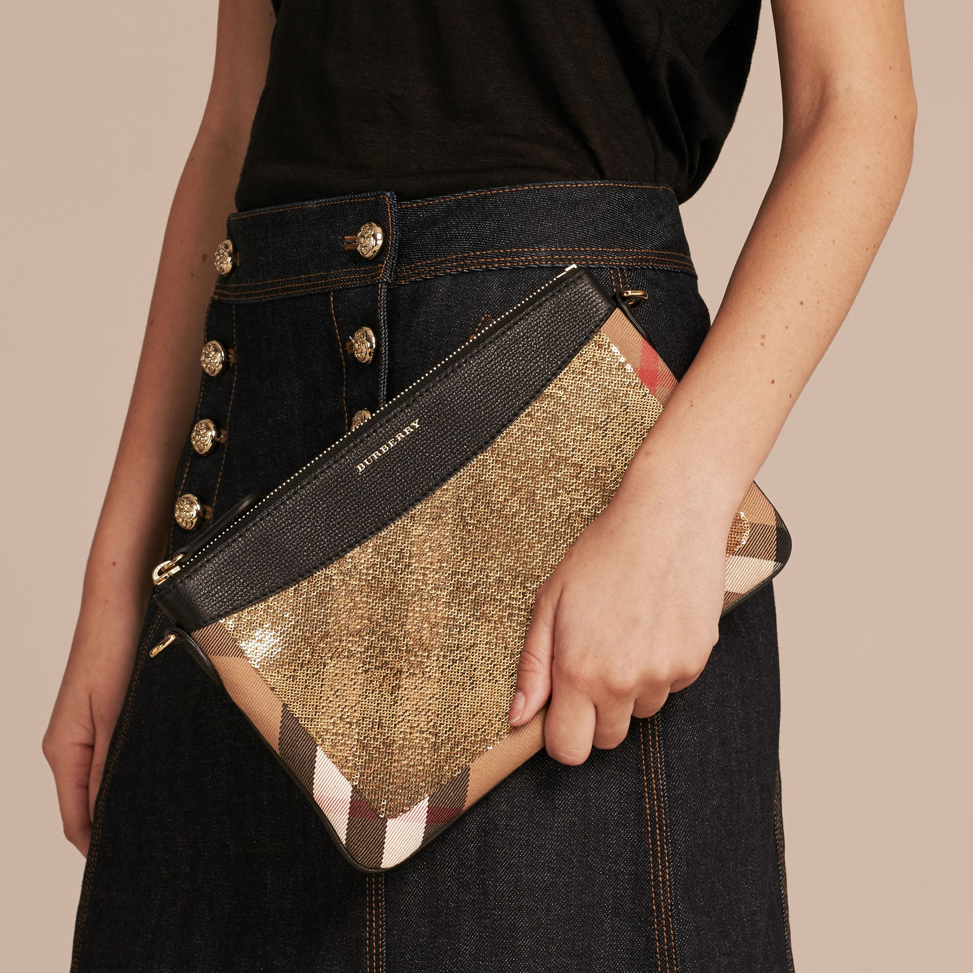 Leather, Sequin and Check Clutch Bag in Gold/black - gallery image 4