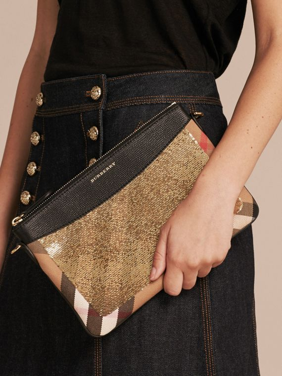 Leather, Sequin and Check Clutch Bag in Gold/black - cell image 3