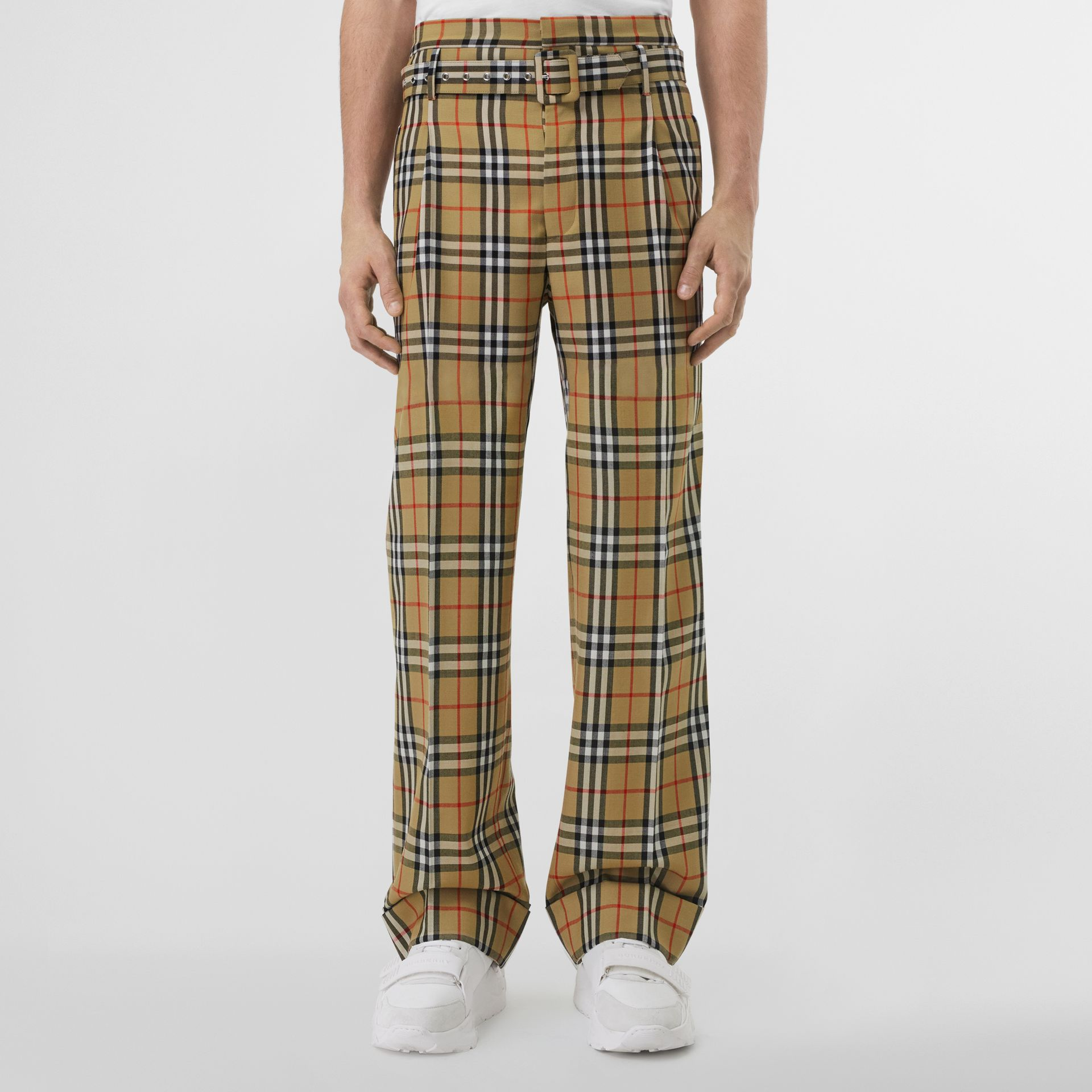 Vintage Check Wool High-waisted Trousers in Antique Yellow - Men | Burberry - gallery image 4