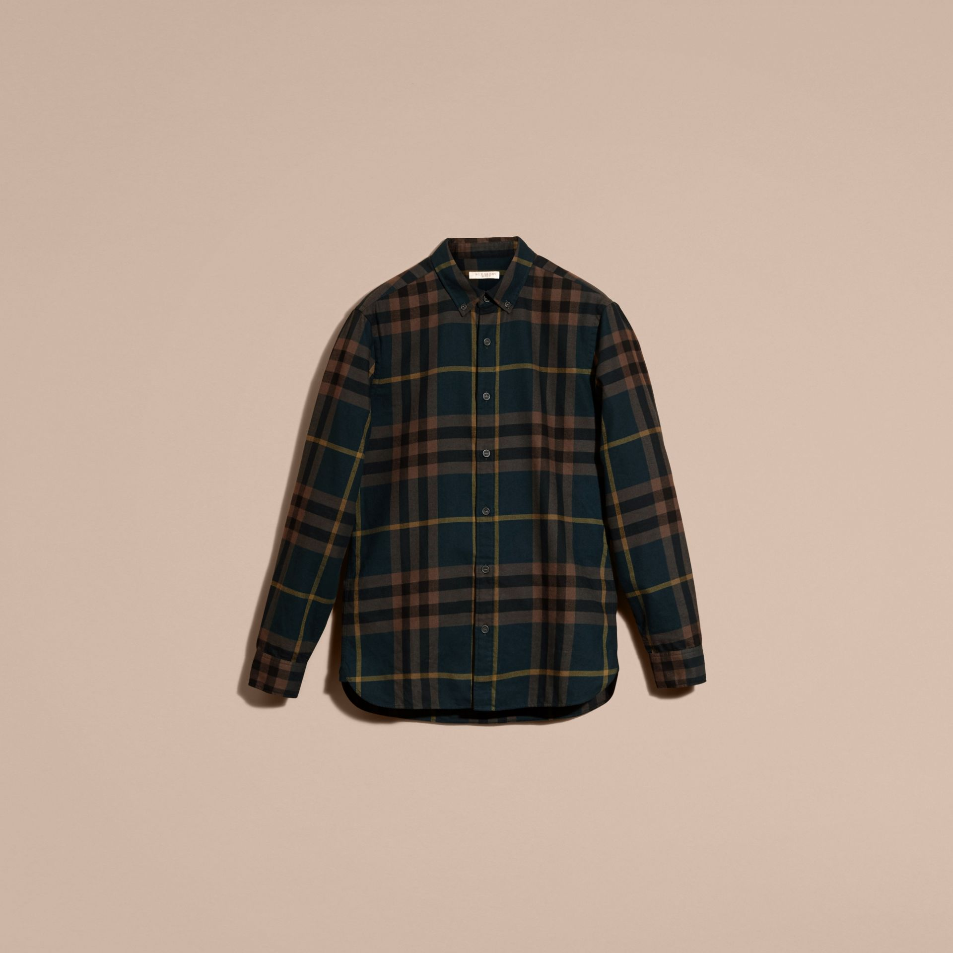 Dark teal green Check Cotton Flannel Shirt Dark Teal Green - gallery image 4