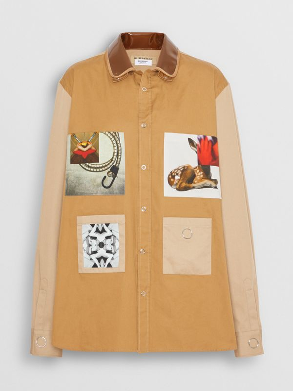 Double Collar Montage Print Cotton Jacket in Caramel - Women | Burberry - cell image 3
