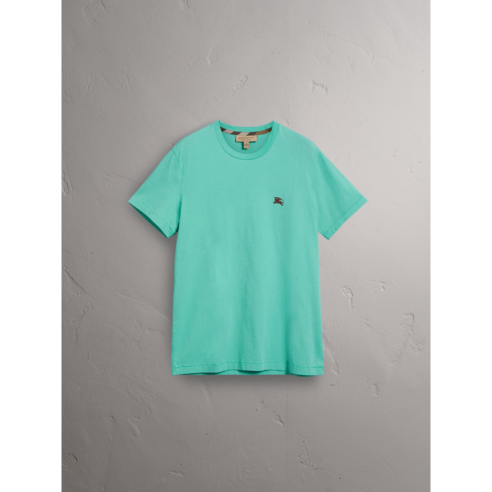 Cotton Jersey T-shirt in Turquoise - Men | Burberry United Kingdom - gallery image 3