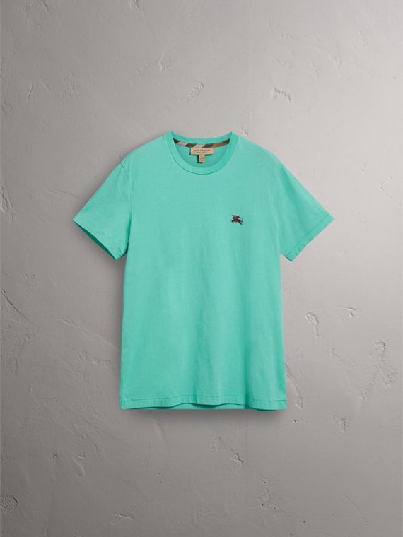 Cotton Jersey T-shirt in Turquoise - Men | Burberry United Kingdom - cell image 3