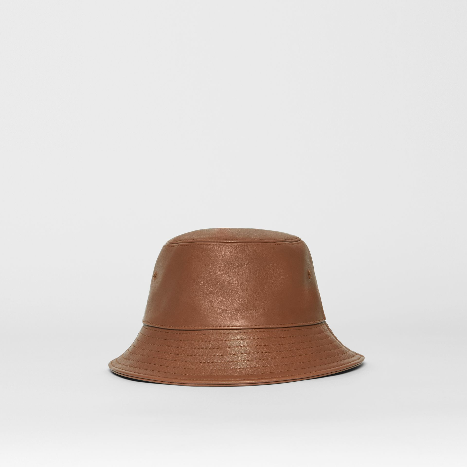 Logo Detail Leather Bucket Hat in Tan | Burberry United States - gallery image 4