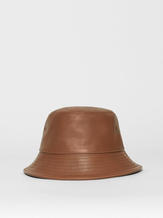 Logo Detail Leather Bucket Hat in Tan