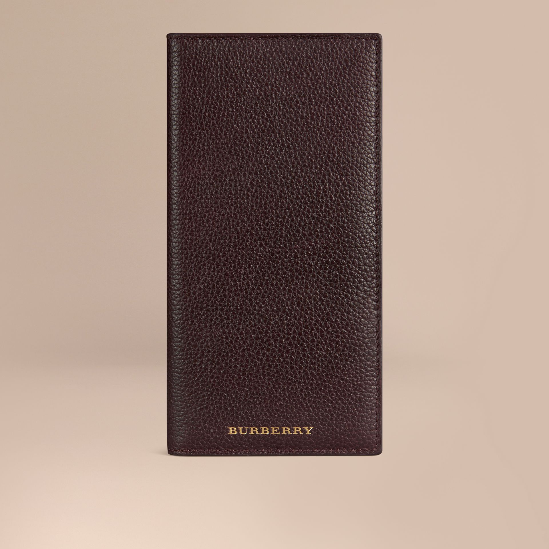 Grainy Leather Travel Card Case in Ebony Red | Burberry - gallery image 1
