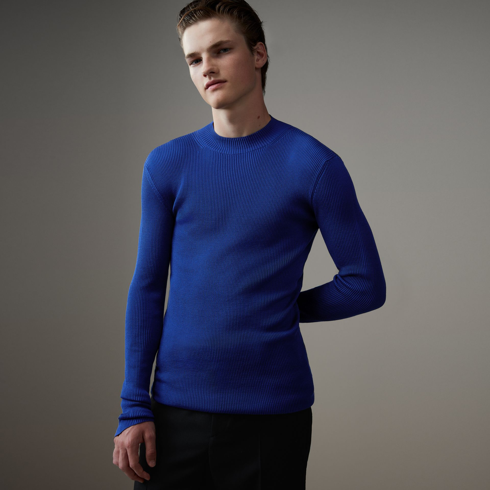 Rib Knit Silk Fitted Sweater in Brilliant Blue - Men | Burberry - gallery image 0