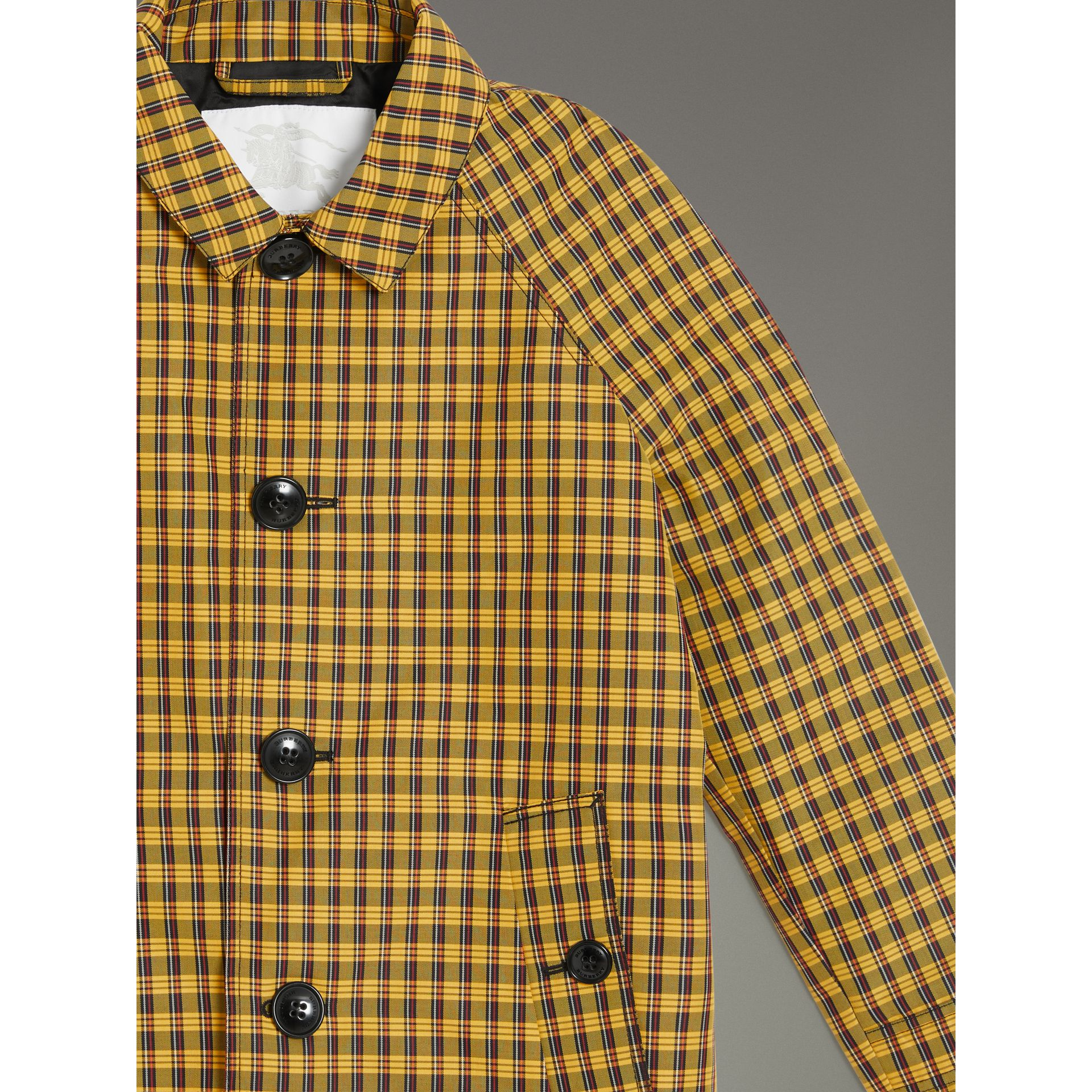 Shrunken Check Cotton Blend Car Coat in Bright Saffron Yellow | Burberry - gallery image 5