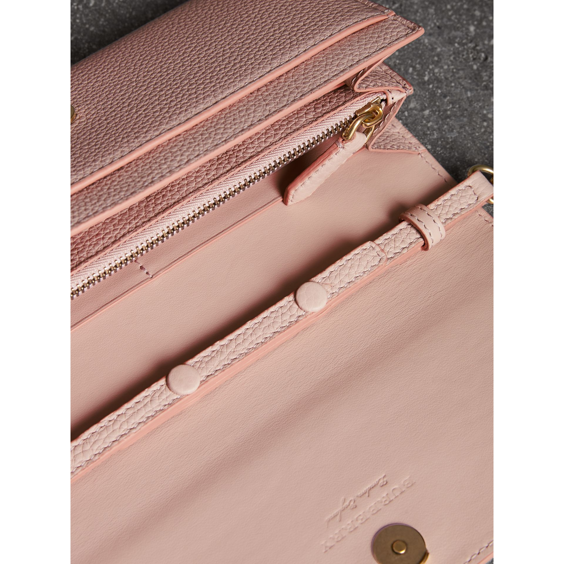 Embossed Leather Wallet with Chain in Pale Ash Rose - Women | Burberry - gallery image 3