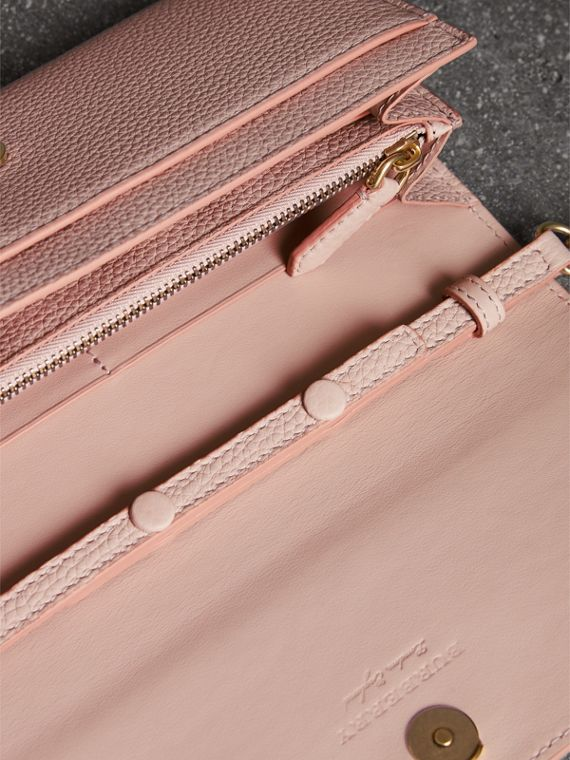 Embossed Leather Wallet with Chain in Pale Ash Rose - Women | Burberry - cell image 3