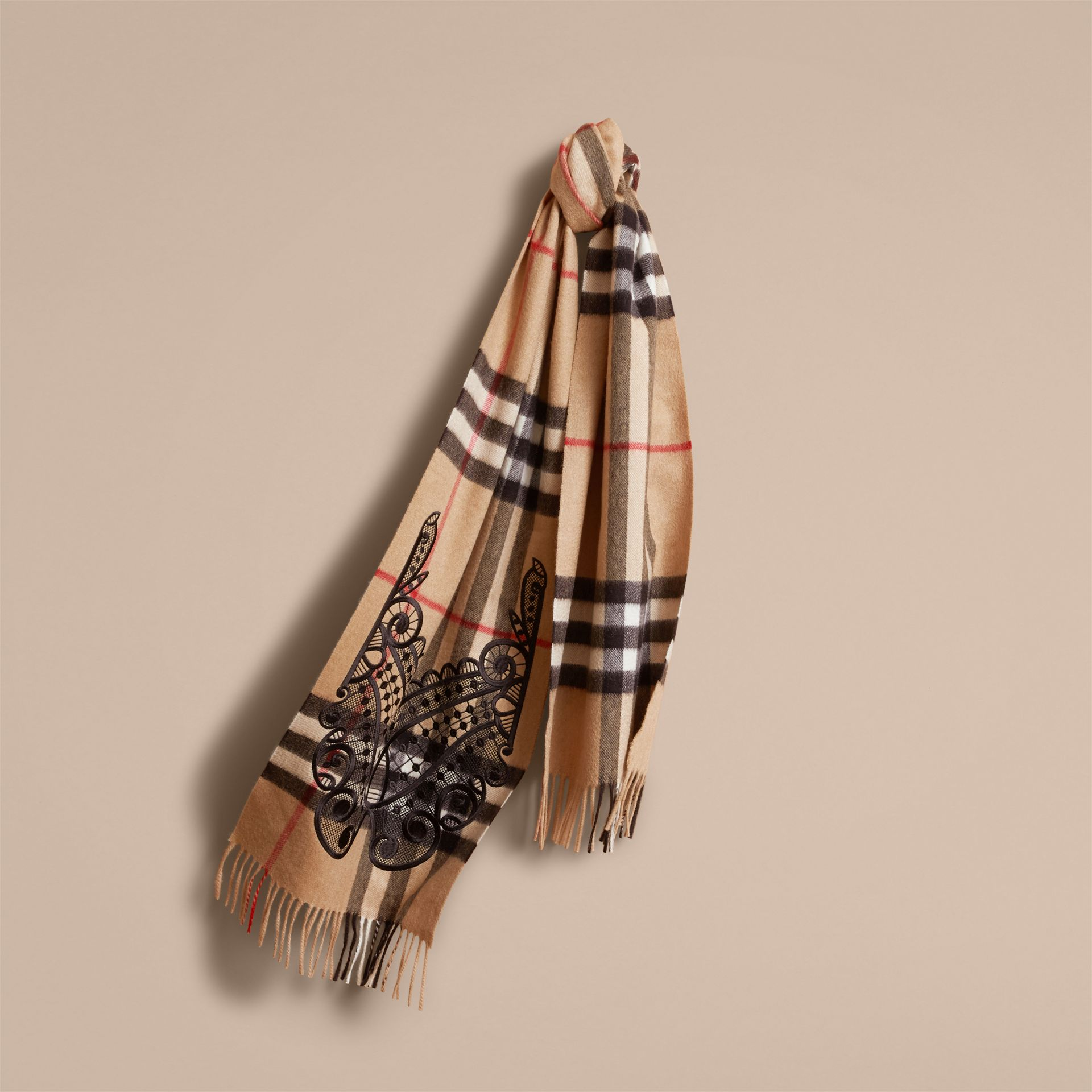The Classic Cashmere Scarf in Check and Lace in Camel/black - Women | Burberry - gallery image 5