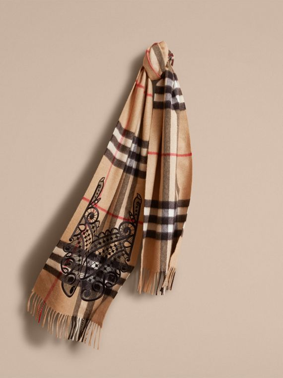 The Classic Cashmere Scarf in Check with Lace Embroidery