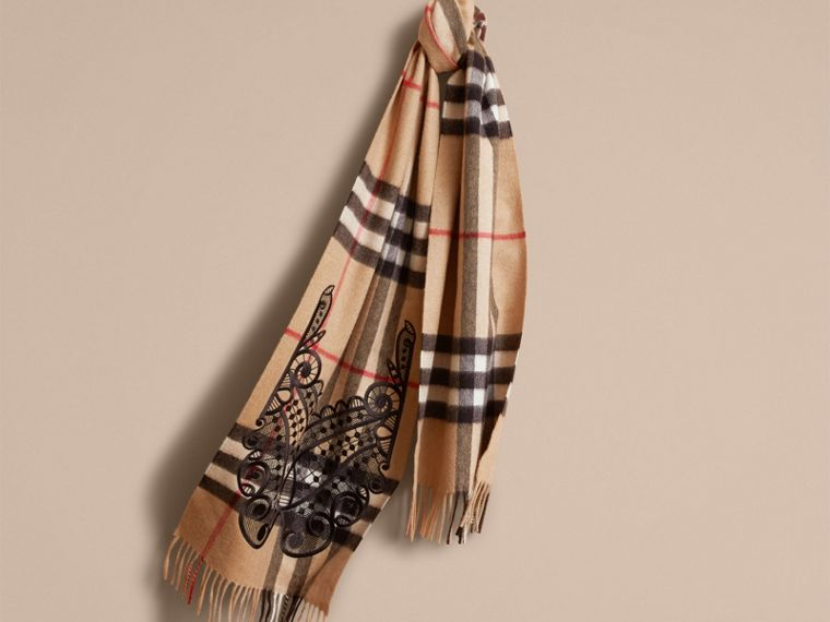 The Classic Cashmere Scarf in Check and Lace - Women | Burberry - cell image 4