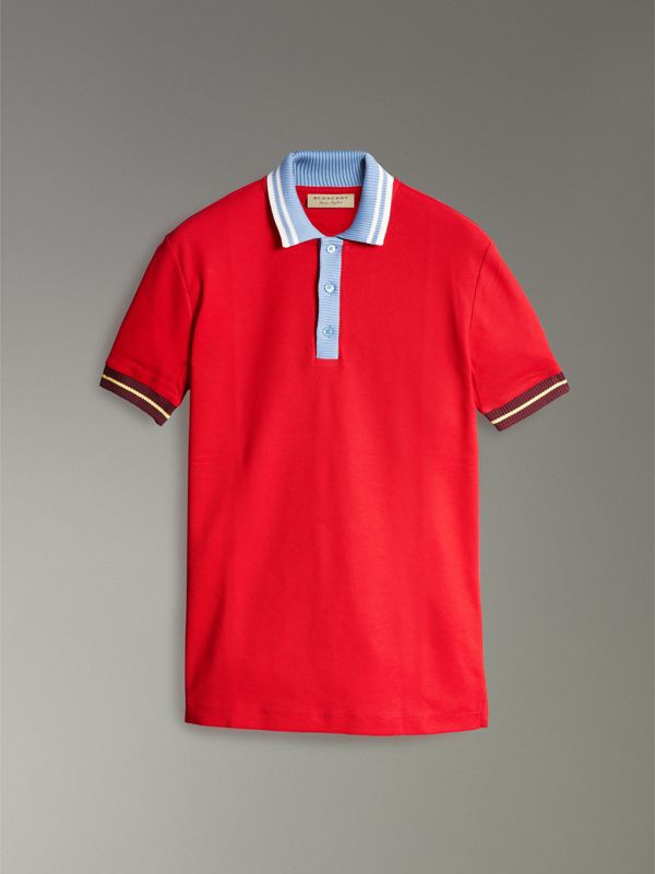 Two-tone Stripe Knitted Detail Cotton Polo Shirt in Cadmium Red - Men | Burberry - cell image 3