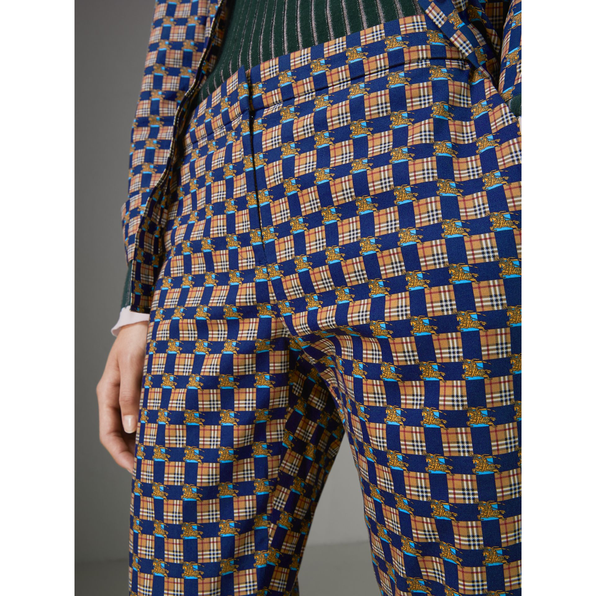 Tiled Archive Print Stretch Cotton Cigarette Trousers in Navy - Women | Burberry Australia - gallery image 1