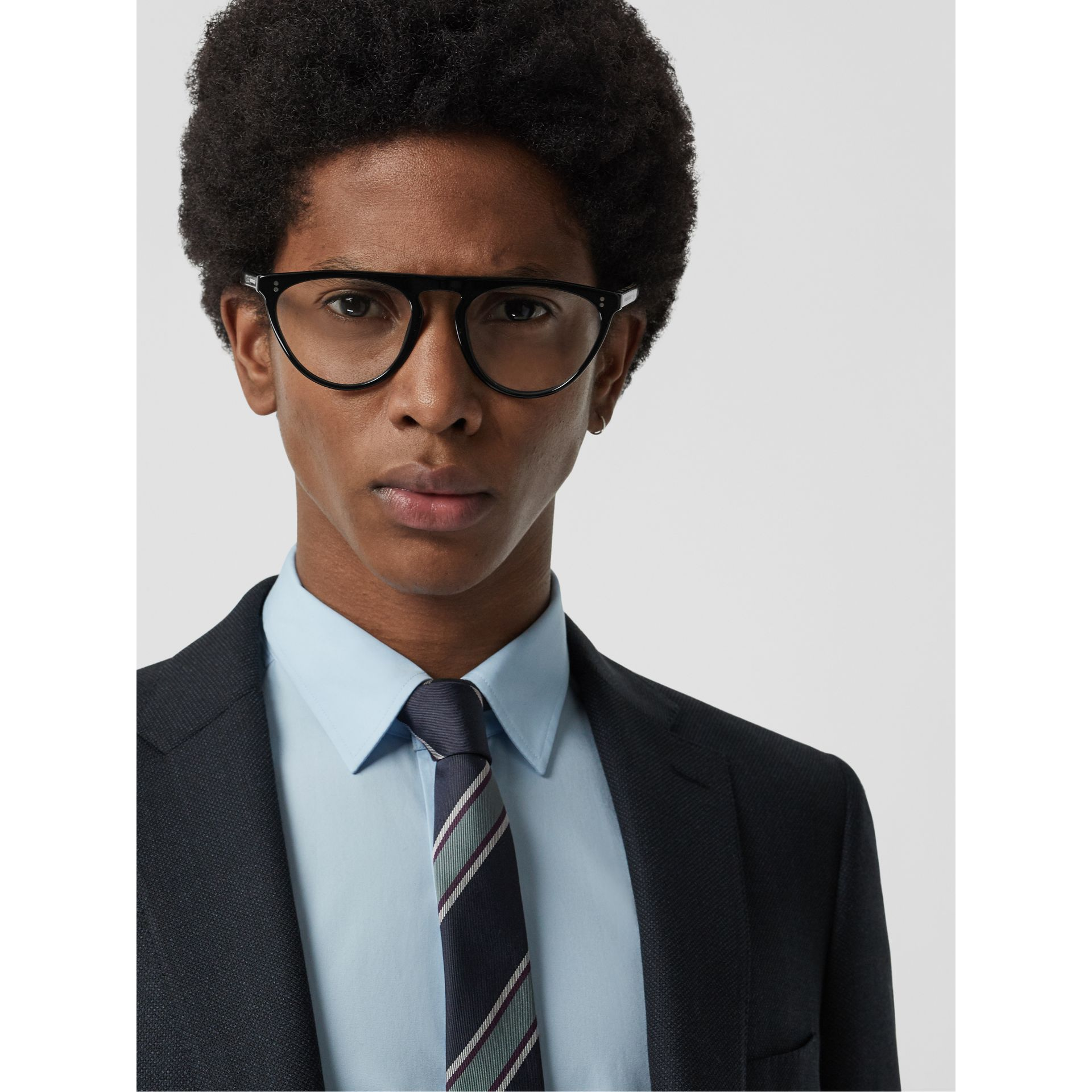 Keyhole D-shaped Optical Frames in Black - Men | Burberry Singapore - gallery image 2
