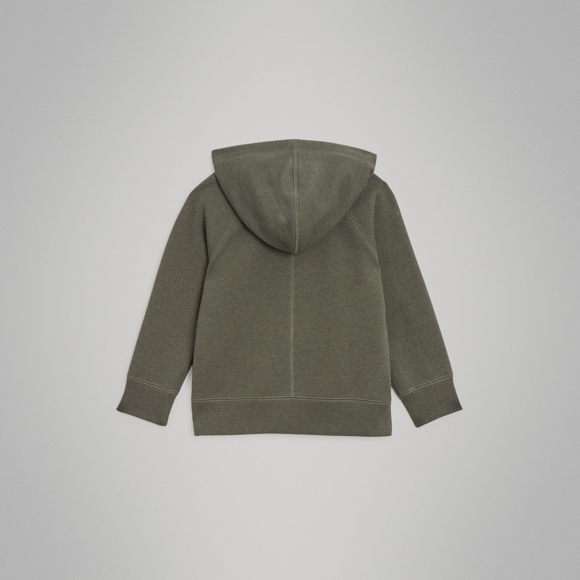 Cotton Jersey Hooded Top in Olive Melange | Burberry - gallery image 3