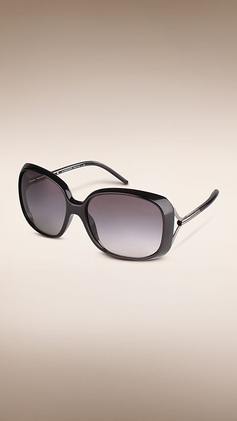 Shiny black Trench Collection Oversize Square Frame Sunglasses - Image 1
