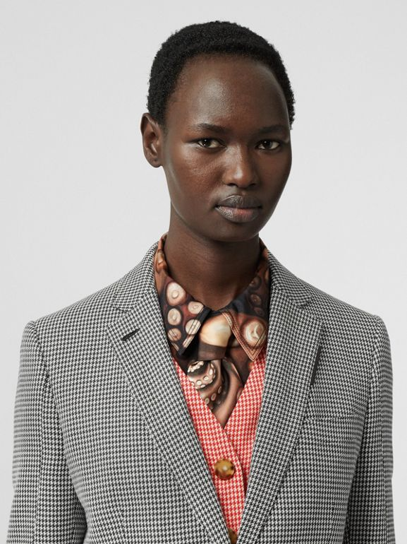 Waistcoat Detail Houndstooth Check Wool Blazer in Bright Red - Women | Burberry - cell image 1