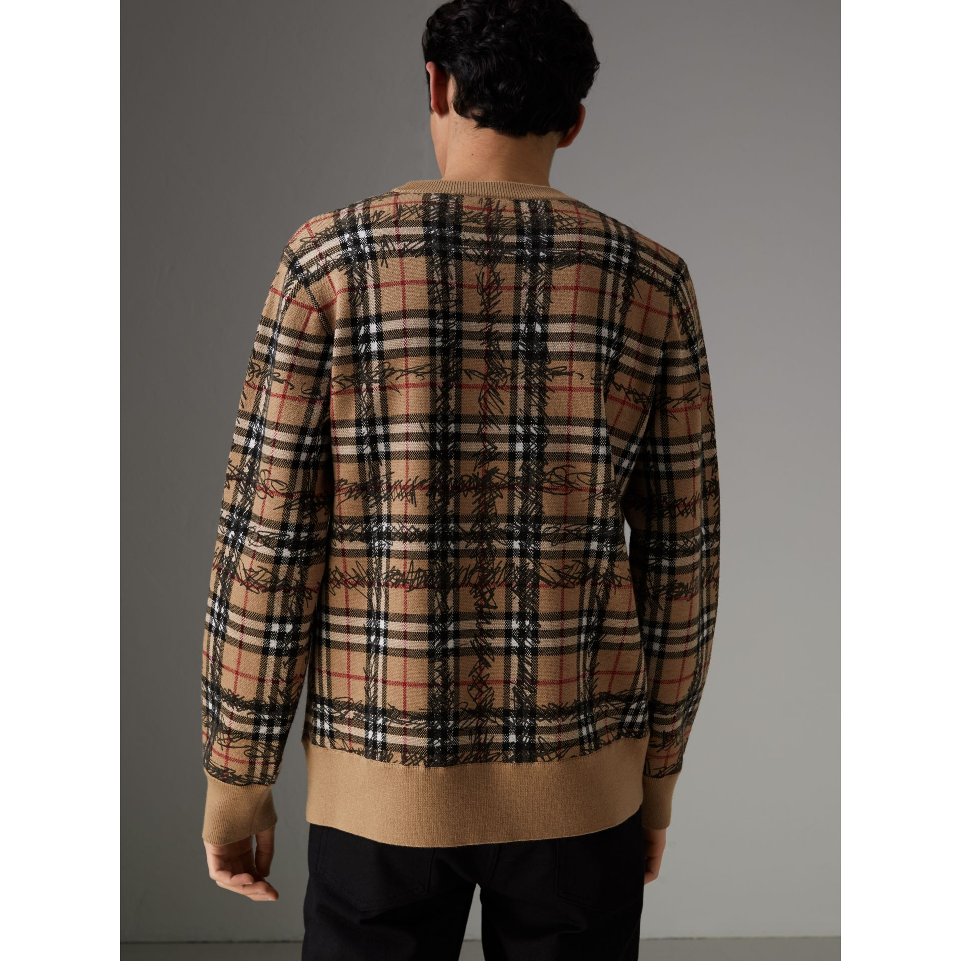 Scribble Check Merino Wool Sweater in Camel/black - Men | Burberry - gallery image 2