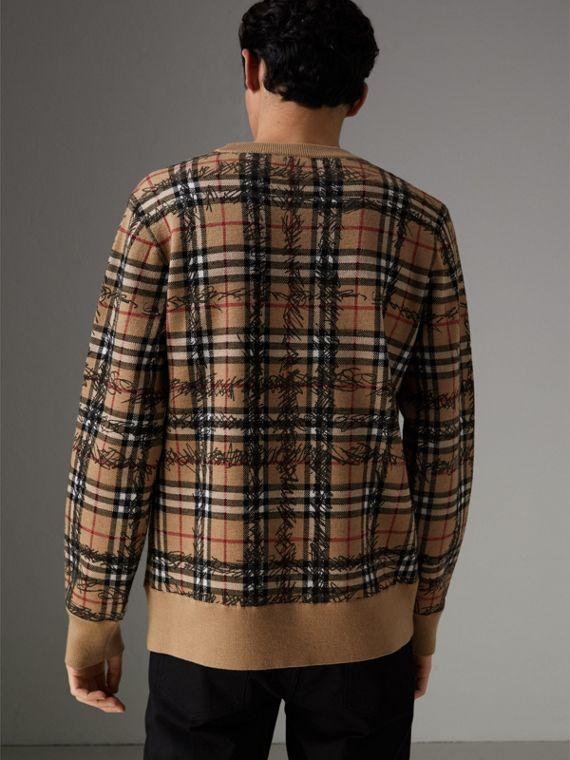 Scribble Check Merino Wool Sweater in Camel/black - Men | Burberry Hong Kong - cell image 2