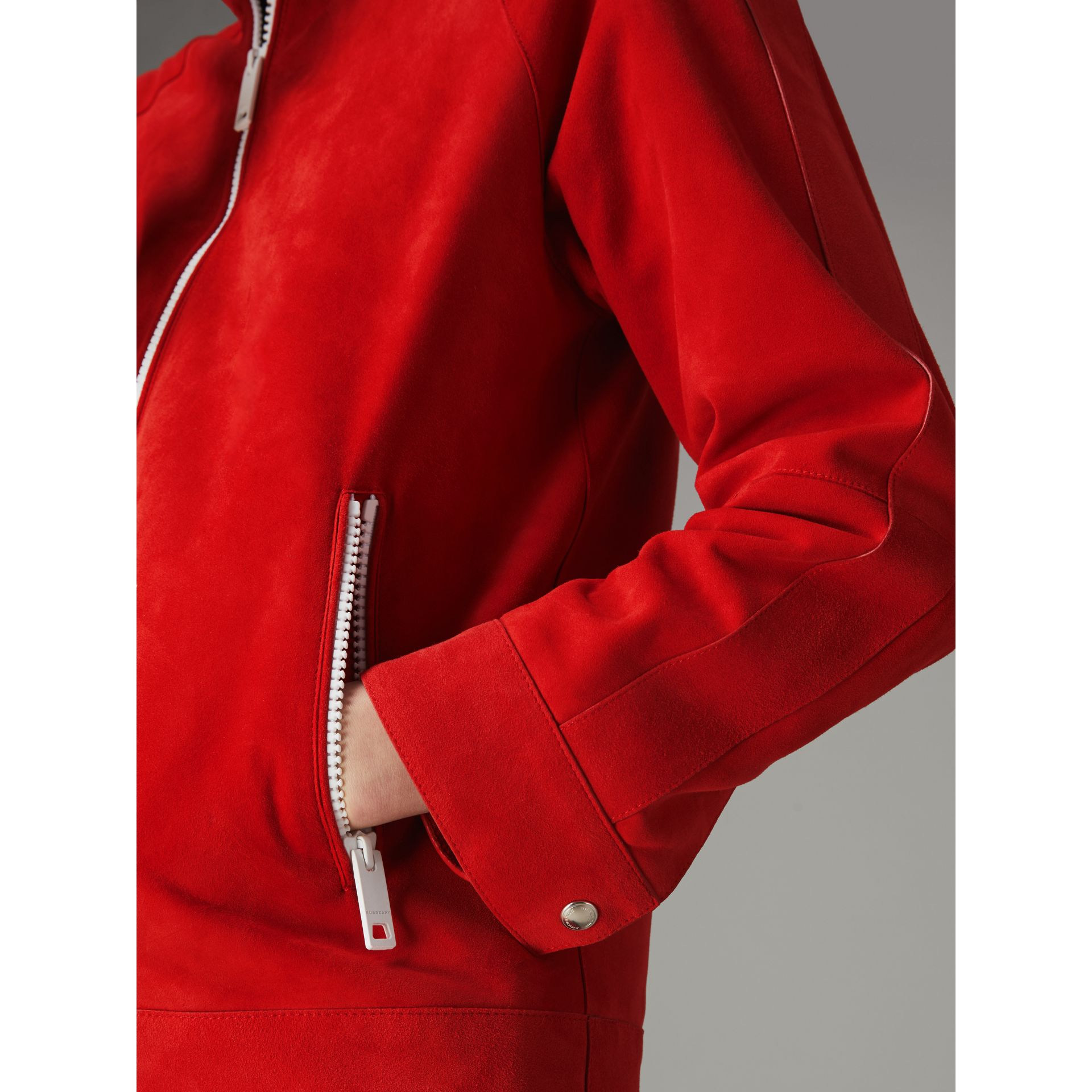 Suede Tracksuit Jacket in Bright Red - Women | Burberry United Kingdom - gallery image 4