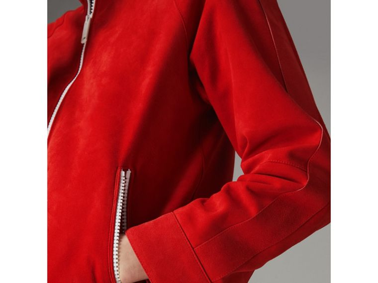 Suede Tracksuit Jacket in Bright Red - Women | Burberry - cell image 4