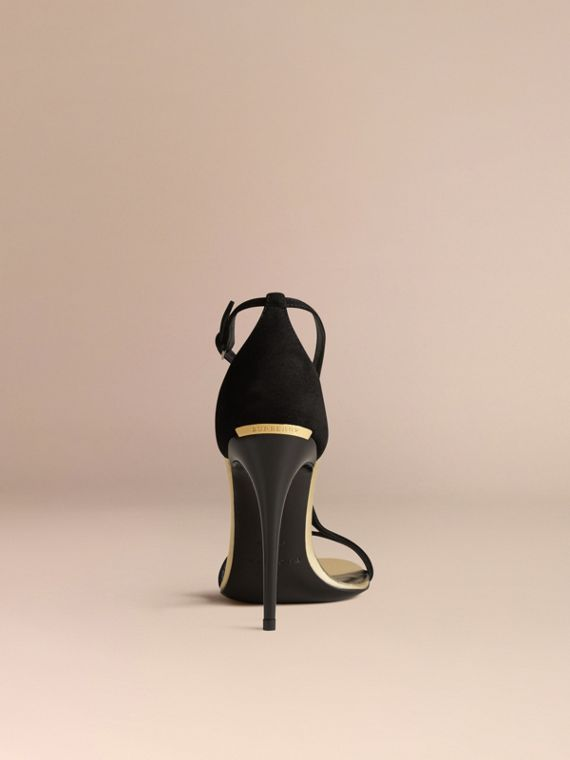 Platinum/black Slim Strap Suede Sandals - cell image 3