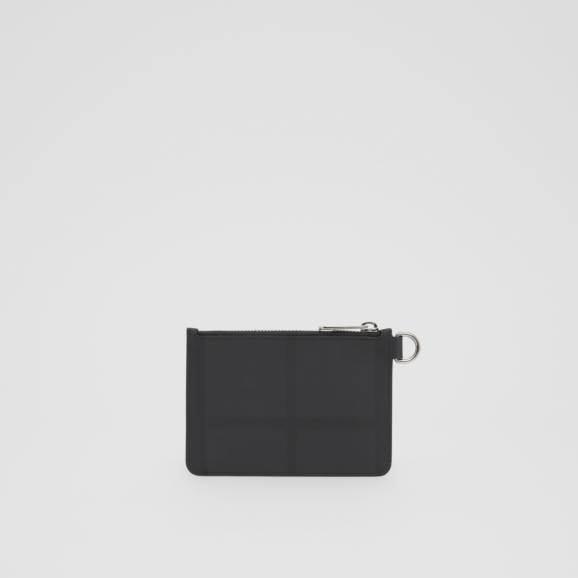 Logo Graphic London Check Zip Coin Case in Dark Charcoal - Men | Burberry - gallery image 5