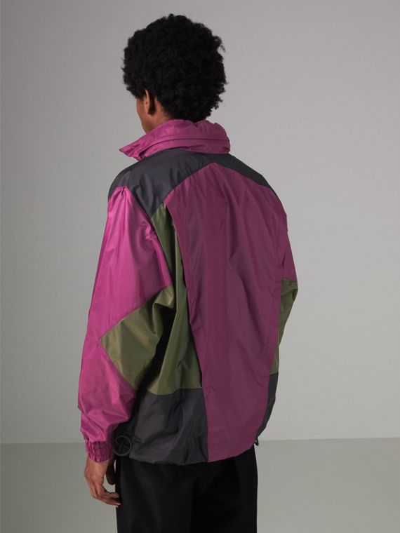 Packaway Hood Colour Block Lightweight Jacket in Regency Purple - Men | Burberry - cell image 2