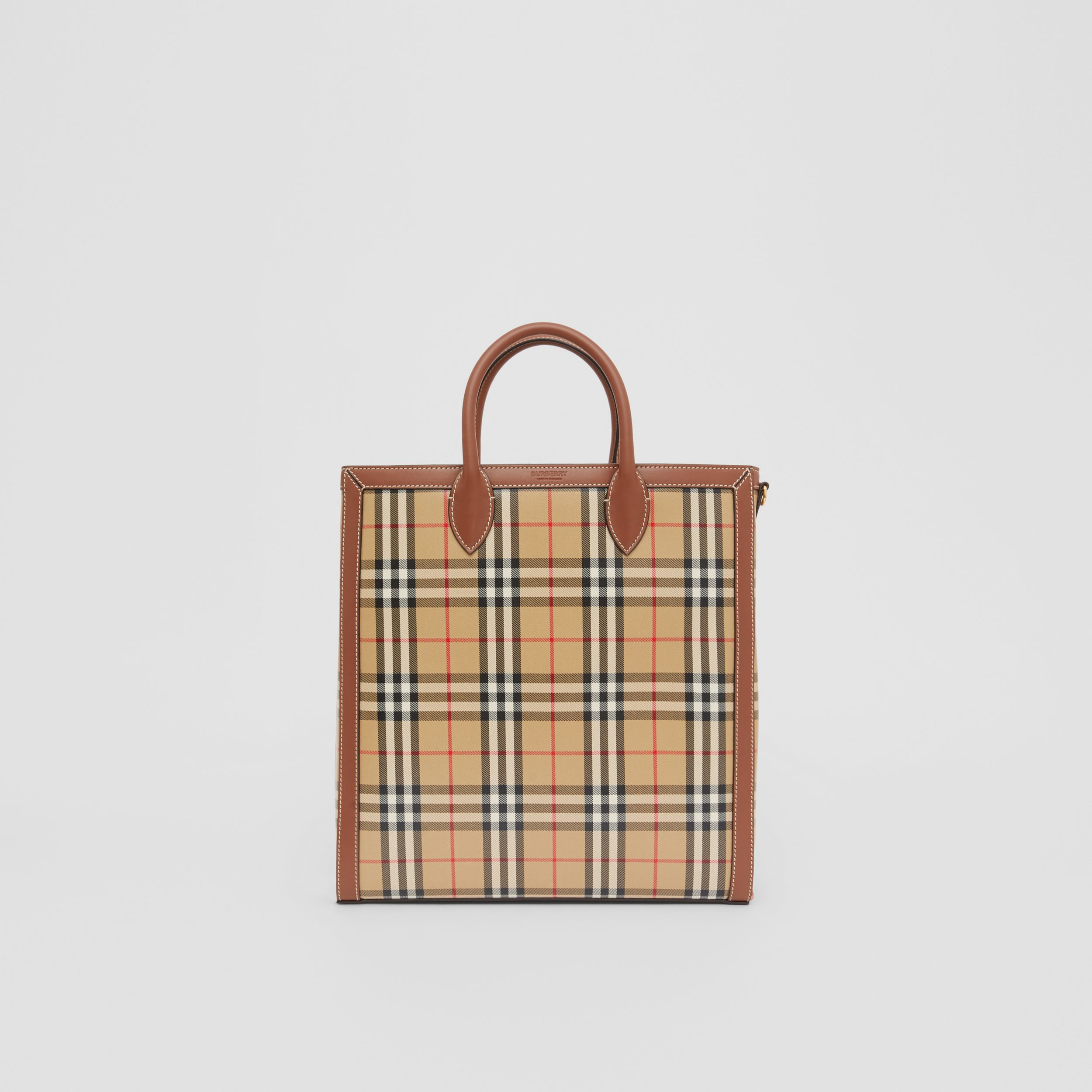Medium Vintage Check Coated Canvas Tote in Archive Beige - Men | Burberry - 1