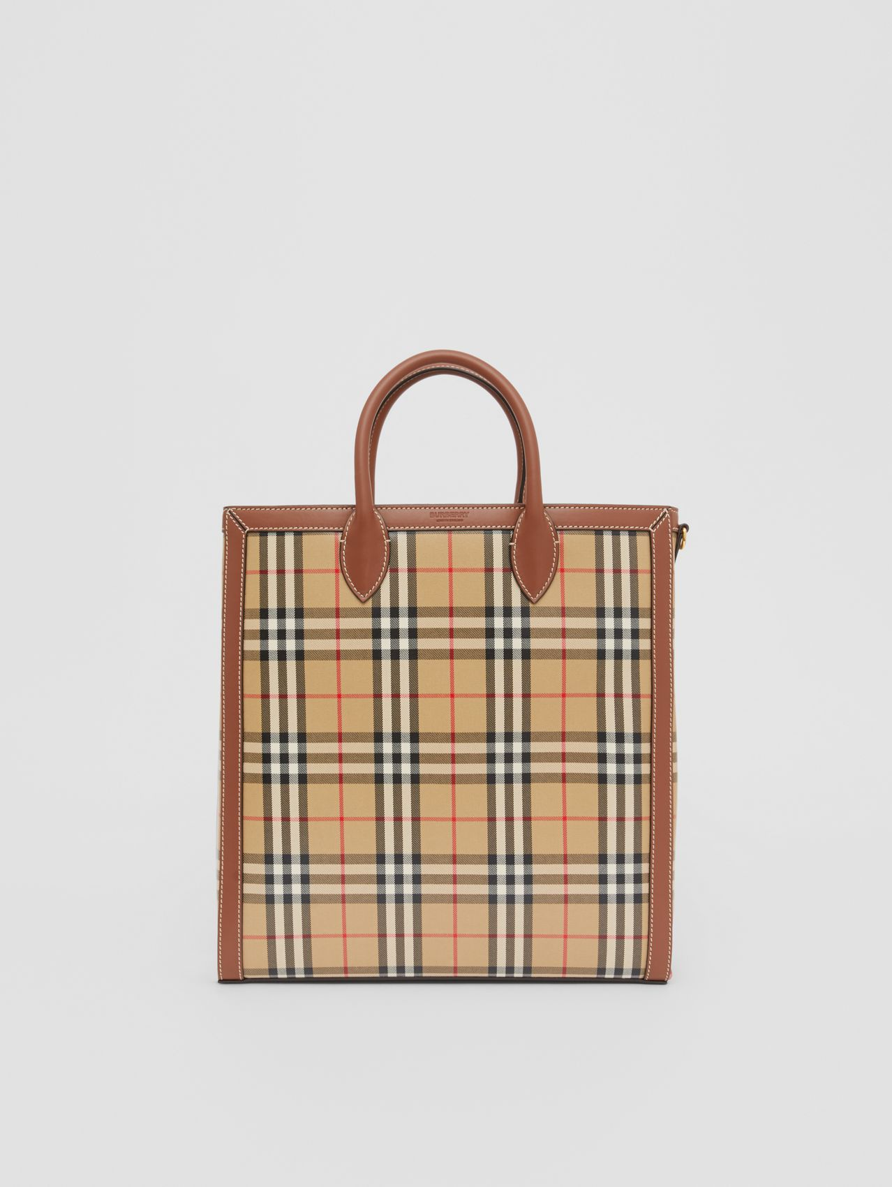 Medium Vintage Check Coated Canvas Tote in Archive Beige