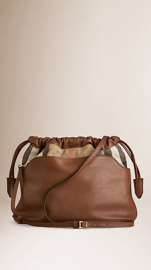 Brown ochre The Little Crush in Leather and House Check - Image 3