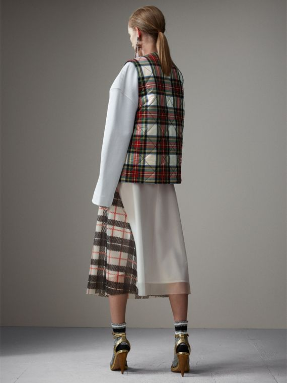 Reversible Tartan Quilted Cotton Gilet in Natural White - Women | Burberry Australia - cell image 2