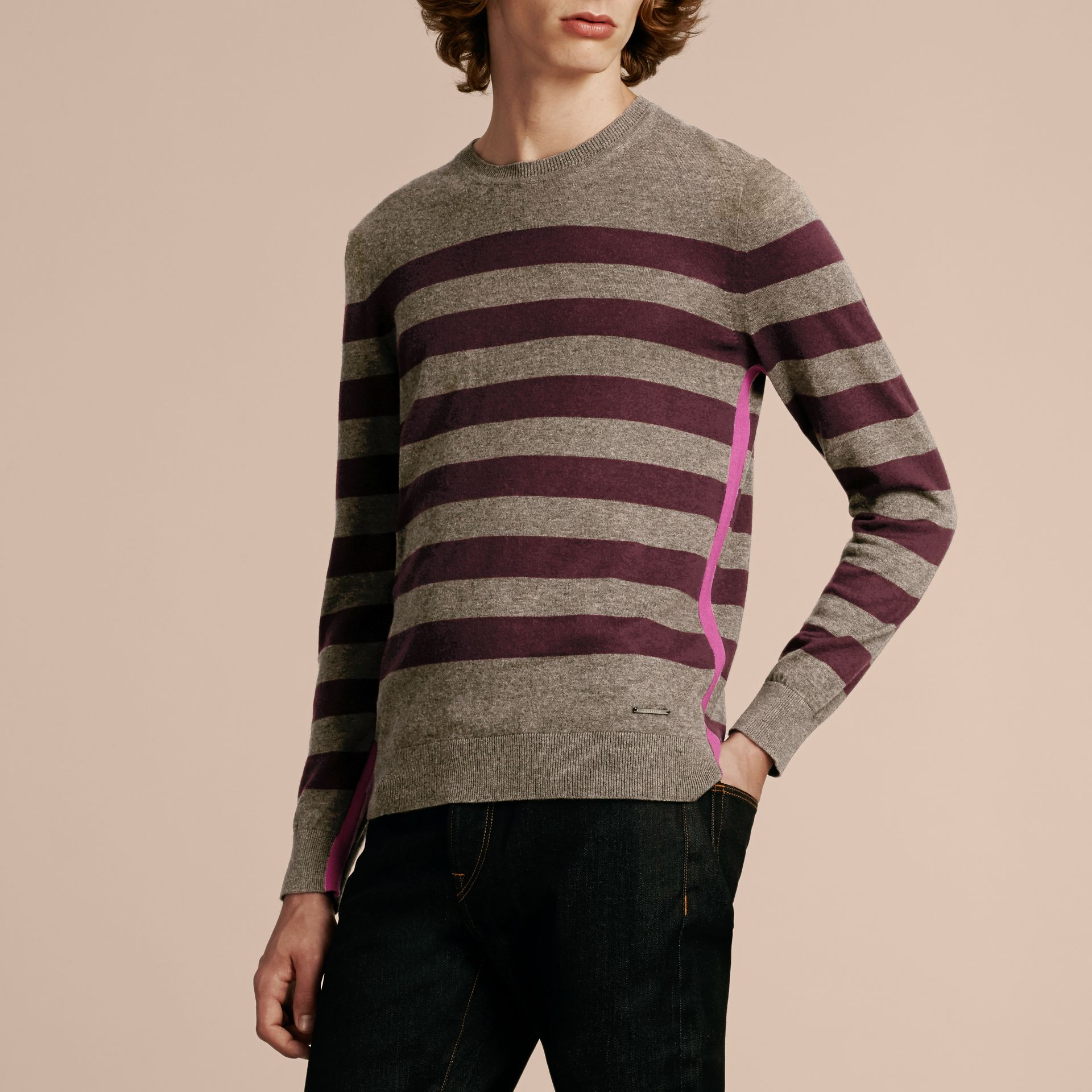 Striped Cashmere Cotton Sweater Mink Grey - gallery image 5