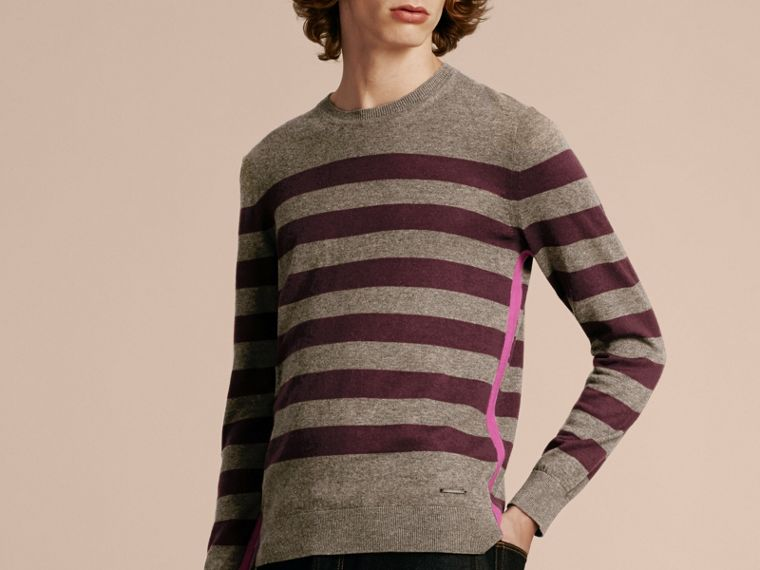 Mink grey Striped Cashmere Cotton Sweater Mink Grey - cell image 4