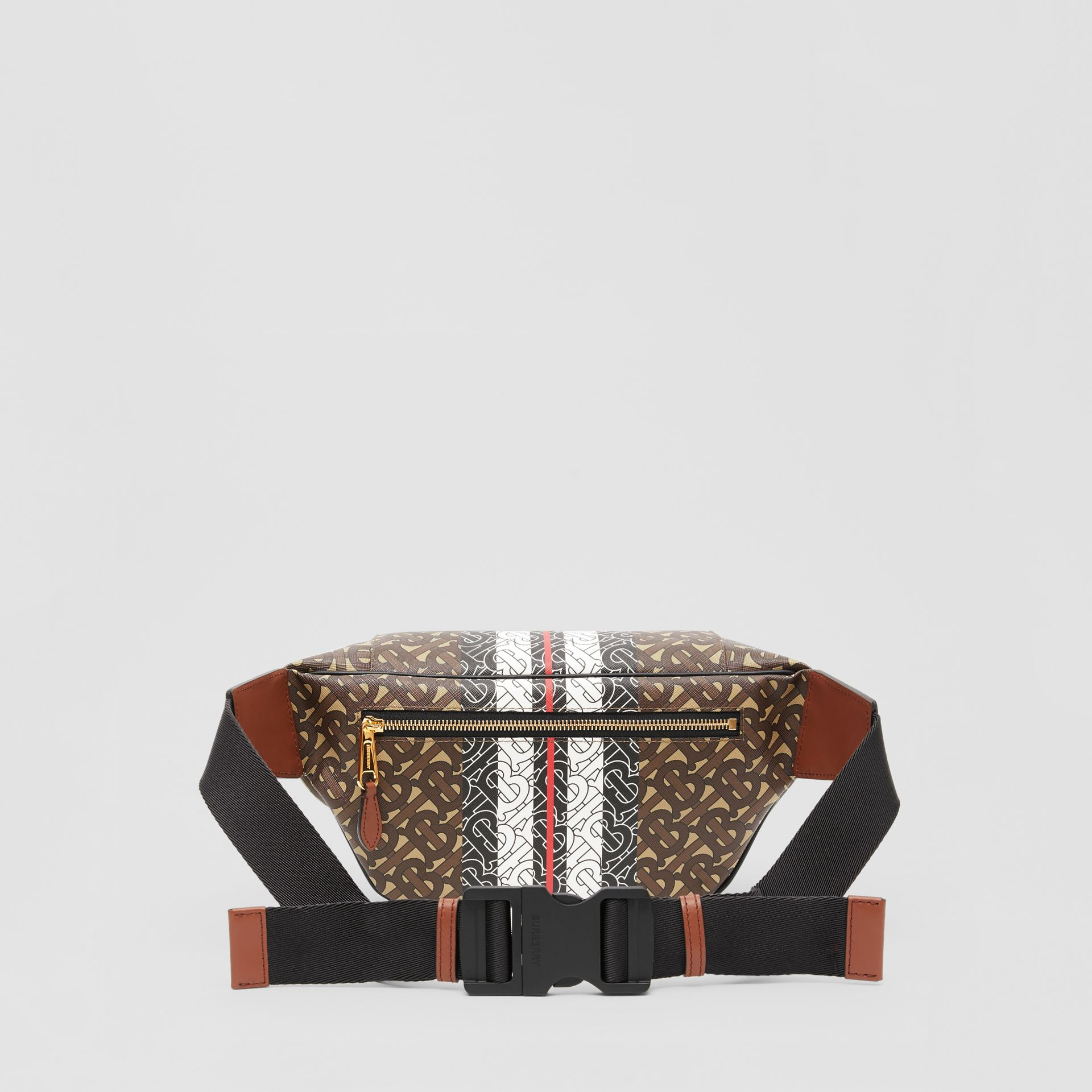 Medium Monogram Stripe E-canvas Bum Bag in Brown | Burberry Singapore - gallery image 9