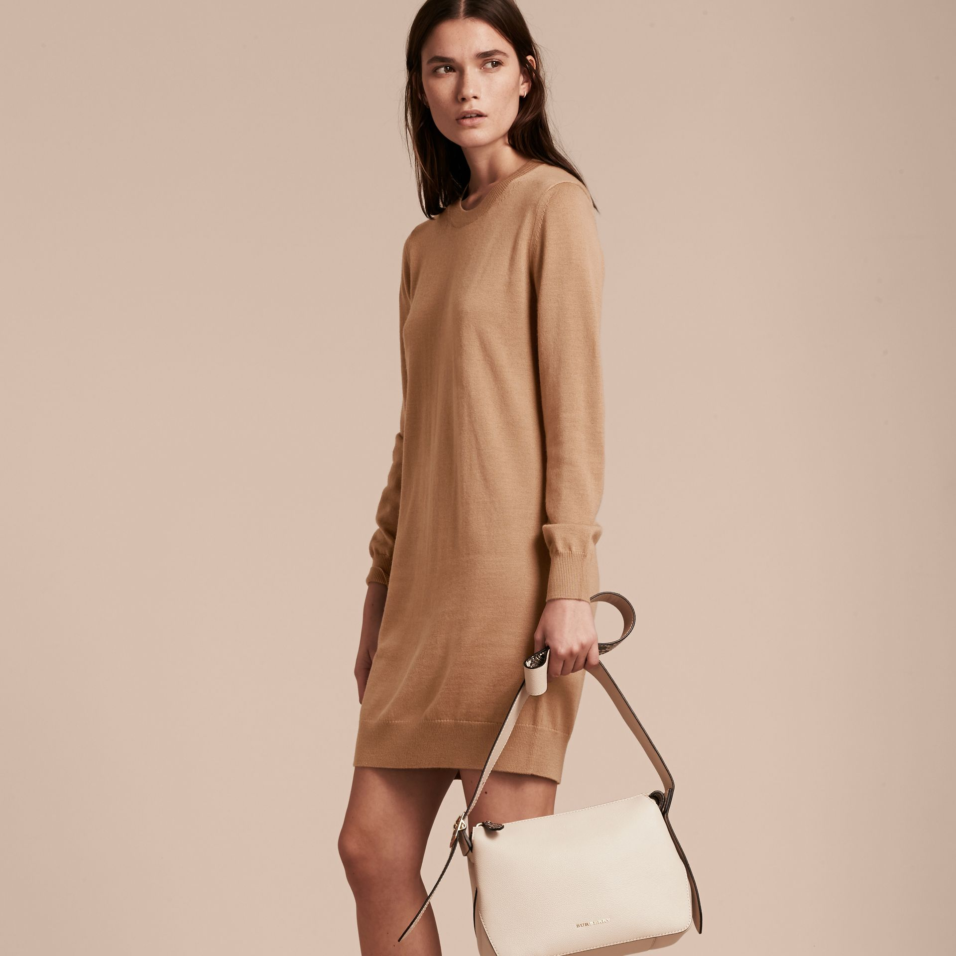 Check Elbow Detail Merino Wool Sweater Dress in Camel - gallery image 6