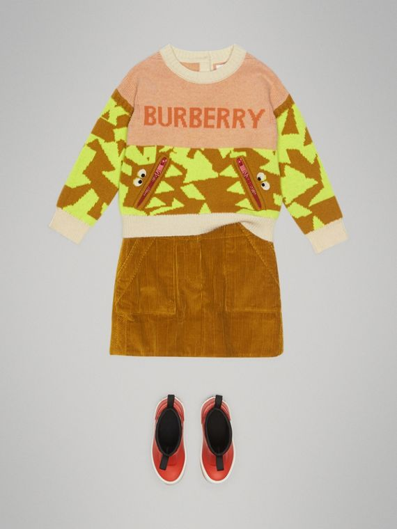 Corduroy A-line Skirt in Ochre - Girl | Burberry Singapore - cell image 2